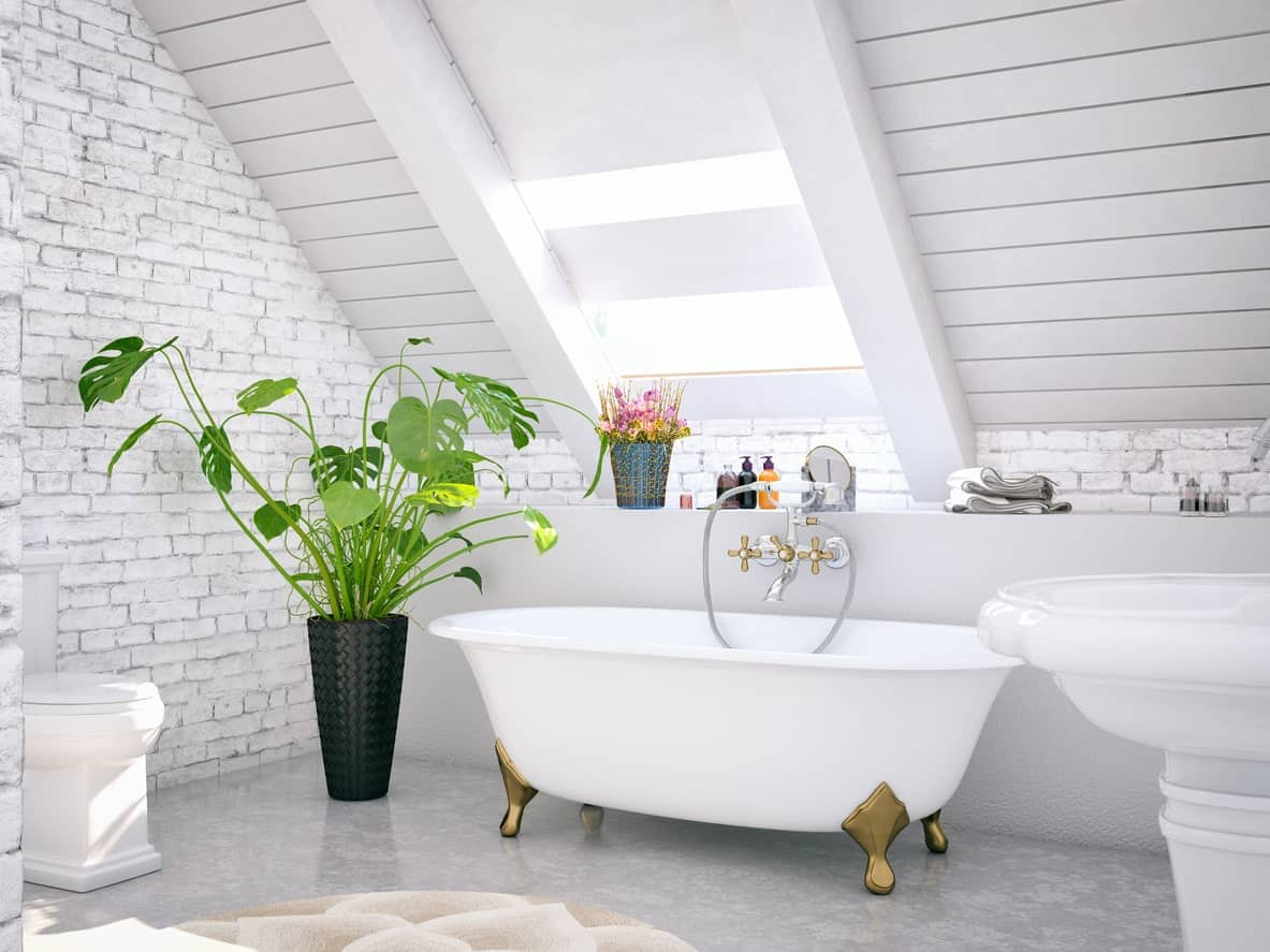 The white shed ceiling has a shiplap finish and a skylight bringing in natural light over the white freestanding bathtub with golden legs. This is paired with white stone walls and a potted plant beside the white toilet.