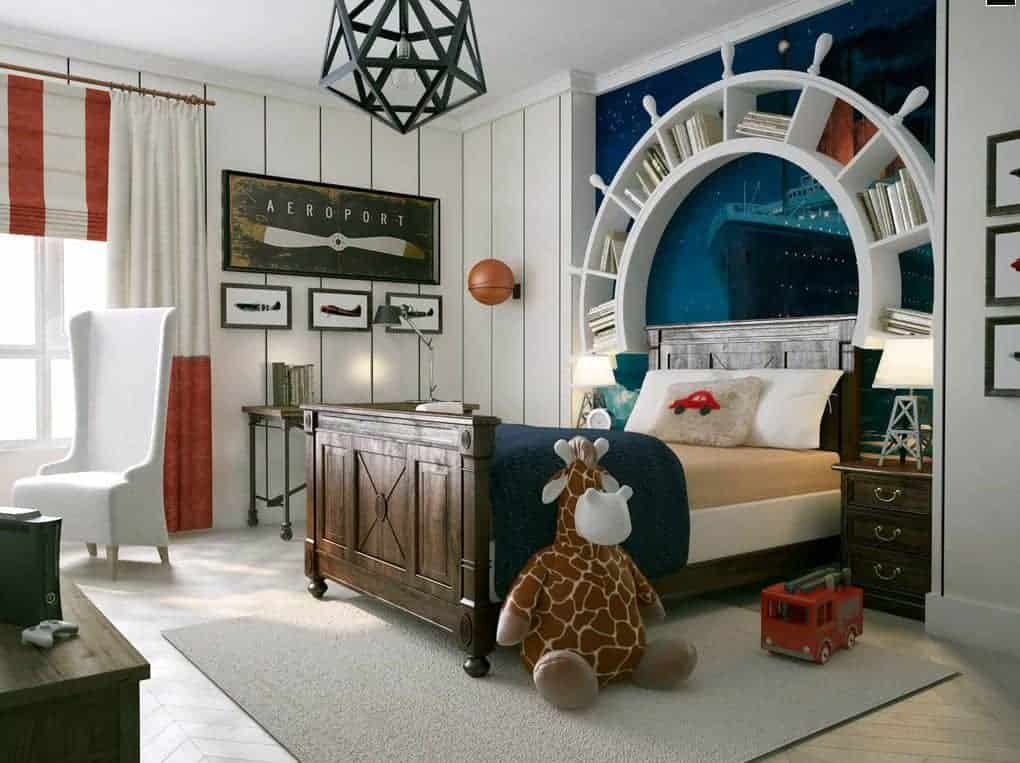 A geometric pendant light illuminates this boy's bedroom boasting a wooden bed attached with a nautical steering wheel bookshelf. It includes a white high back chair and a metal console table situated under the plane wall arts.