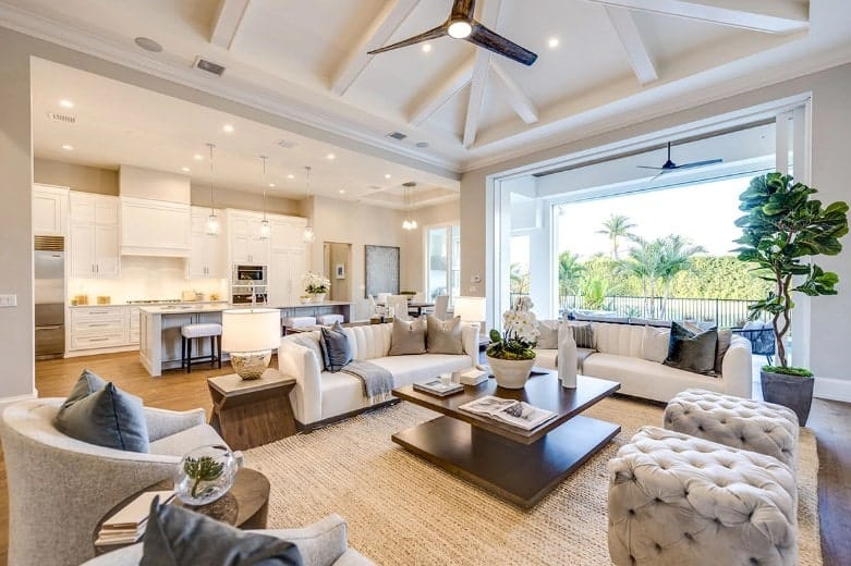 Great room interior of a luxurious one-level beach home.
