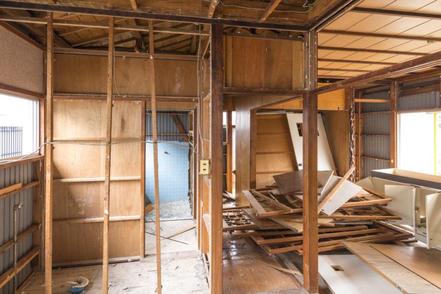 Home interior demolition for DIY renovation