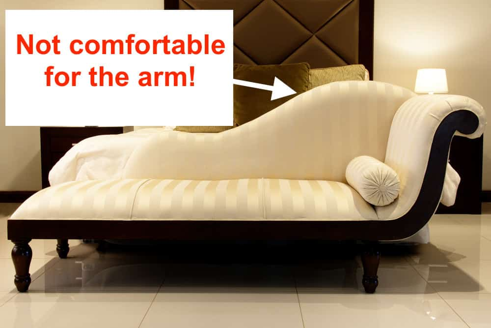 Example of chaise lounge and why it's not comfortable