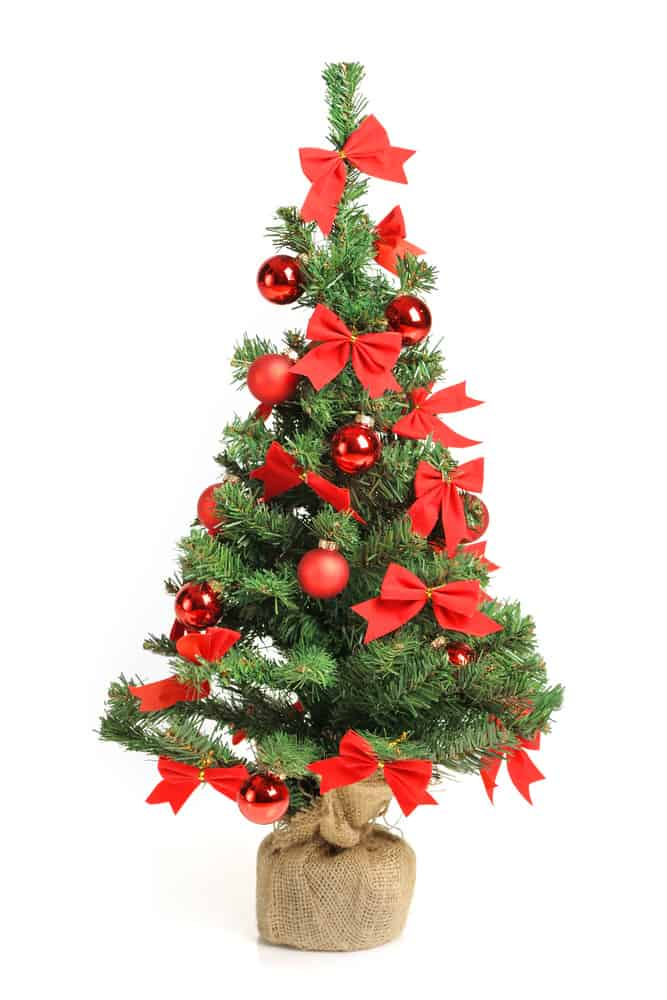 Christmas tree with red ribbons