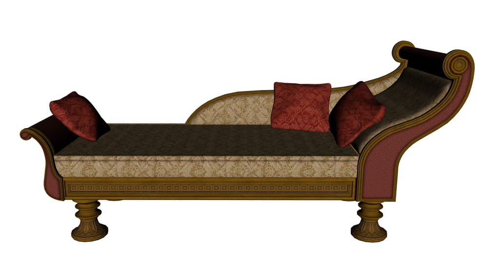 3D rendering of a sleigh style chaise lounge