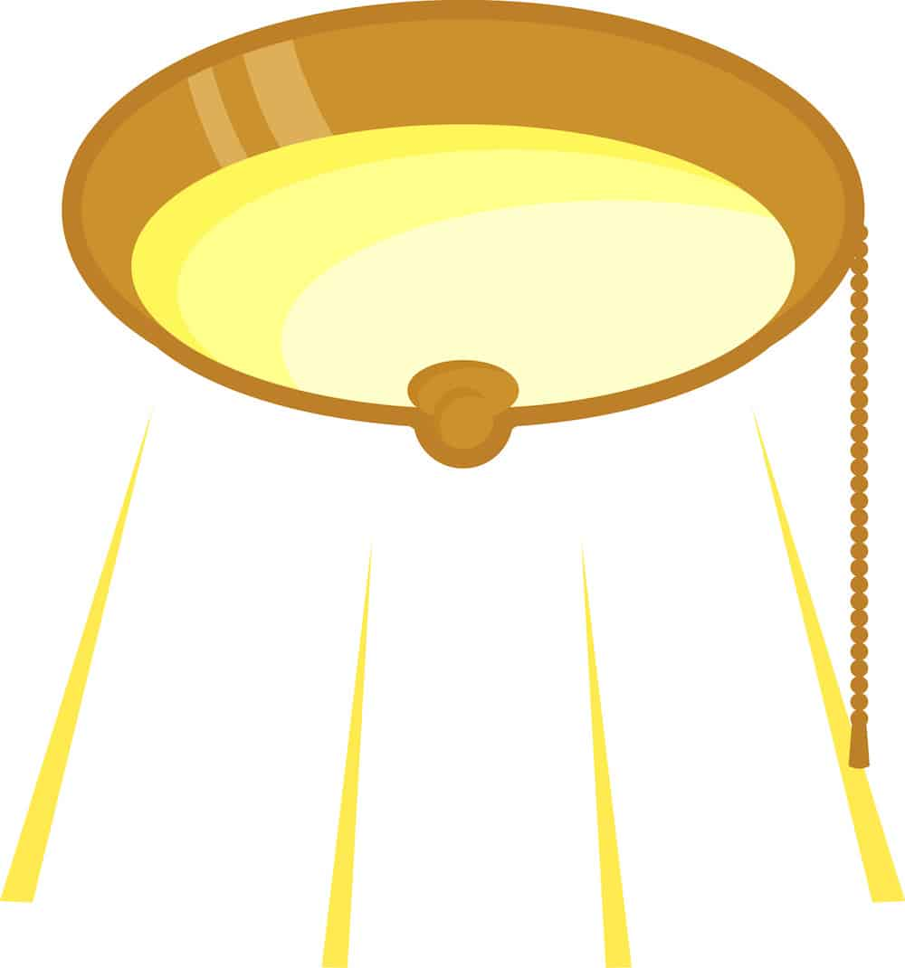 Illustration of the light direction from a flush-mount ceiling light