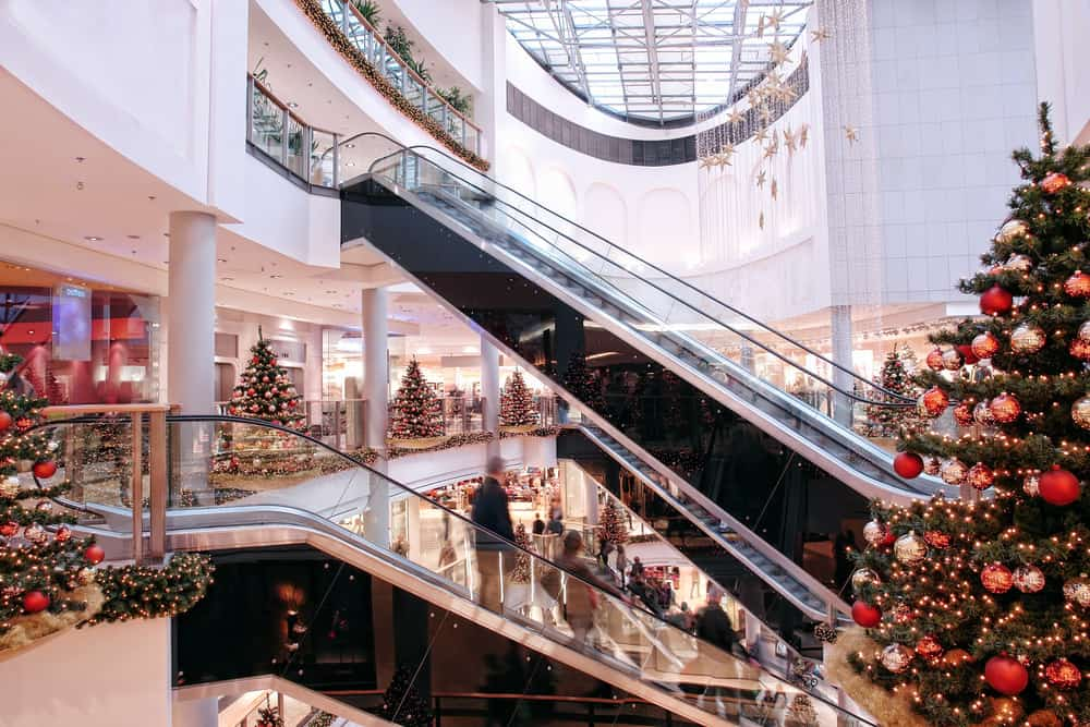 Busy mall at Christmas time