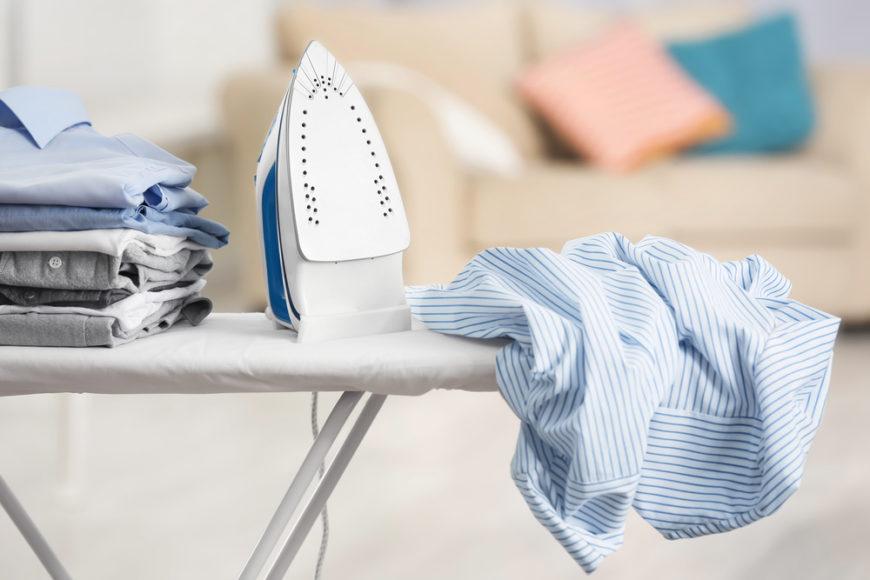 Iron on ironing board