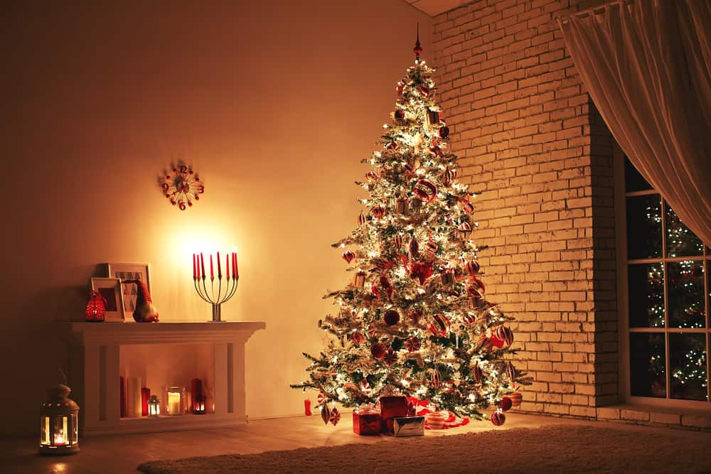 Heavily decorated and lit Christmas Tree