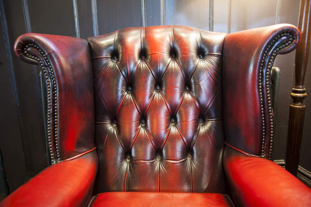 Rich leather wingback chair