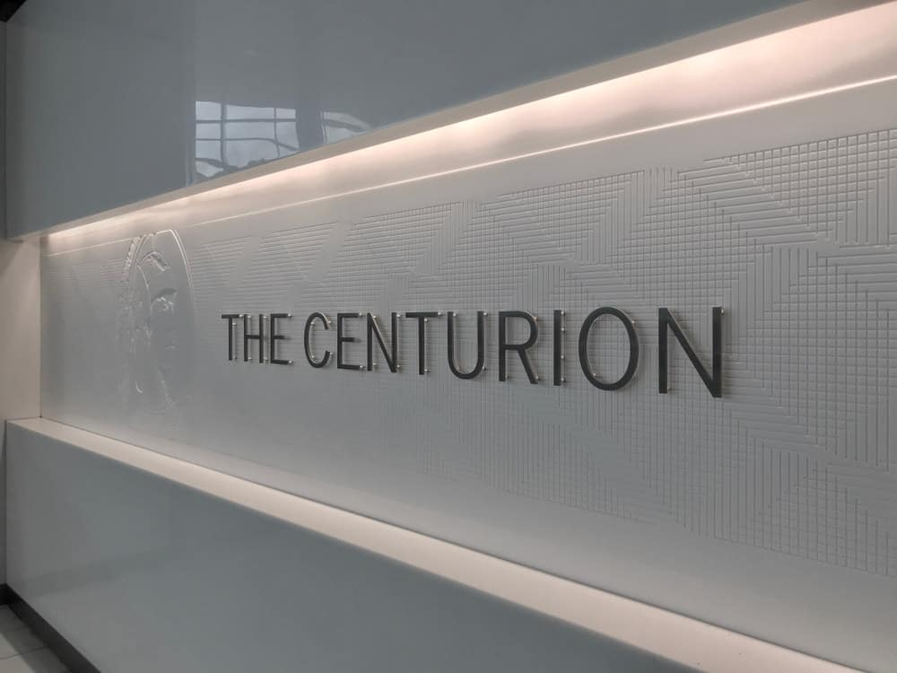 Sign at the entrance to the American Express Centurion lounge at Dallas Fort Worth Airport