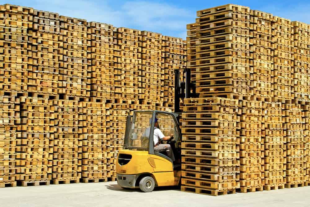 Stacks of wood pallets