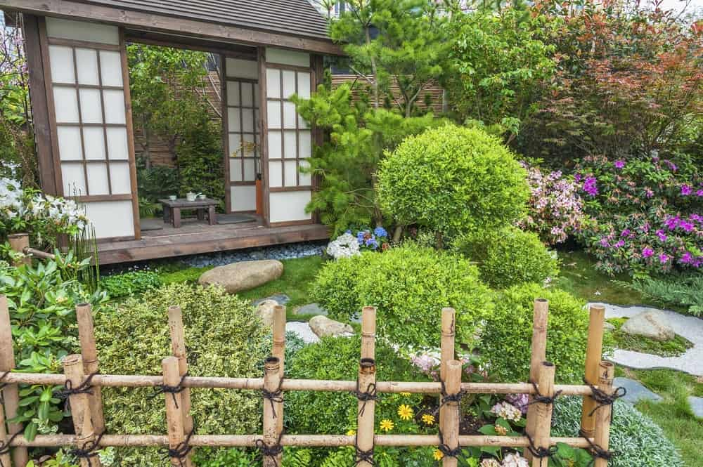 This small Asian-style garden is fenced with bamboo sticks that match with the small bamboo fountain on the side. This zen garden consists of various flowering shrubs and different trees that sets a wonderful frame for the small wooden hut.