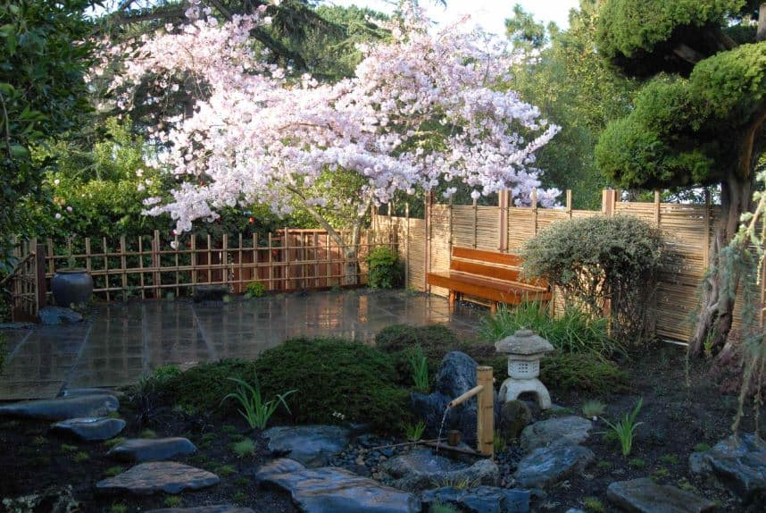 This brilliant Asian-style backyard has bamboo slats for its fencing paired with a wooden bench that you can sit on to enjoy the serenity of the small zen garden that has shrubs, trees, decorative rocks and even a small bamboo fountain.