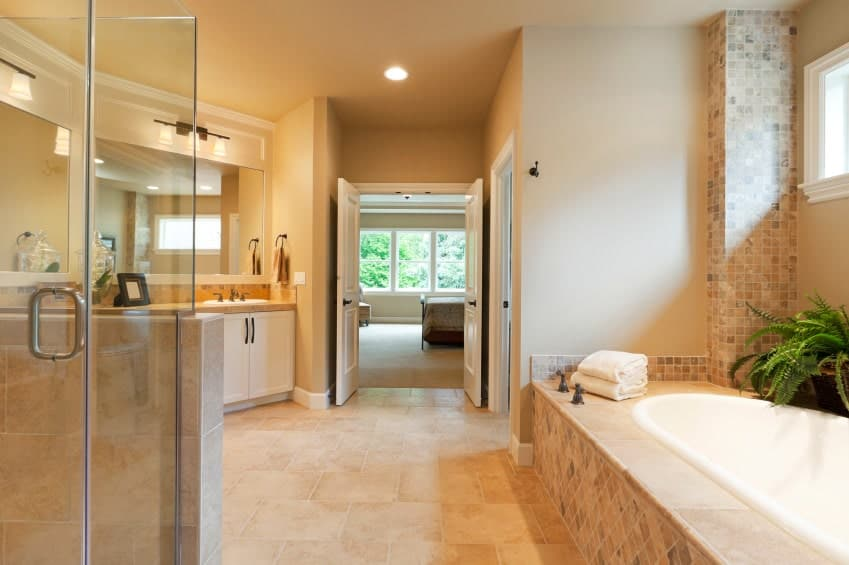 This primary bathroom showcases a walk-in shower and drop-in bathtub topped with potted plants. There's a white sink vanity near the double door that leads out to the primary bedroom.
