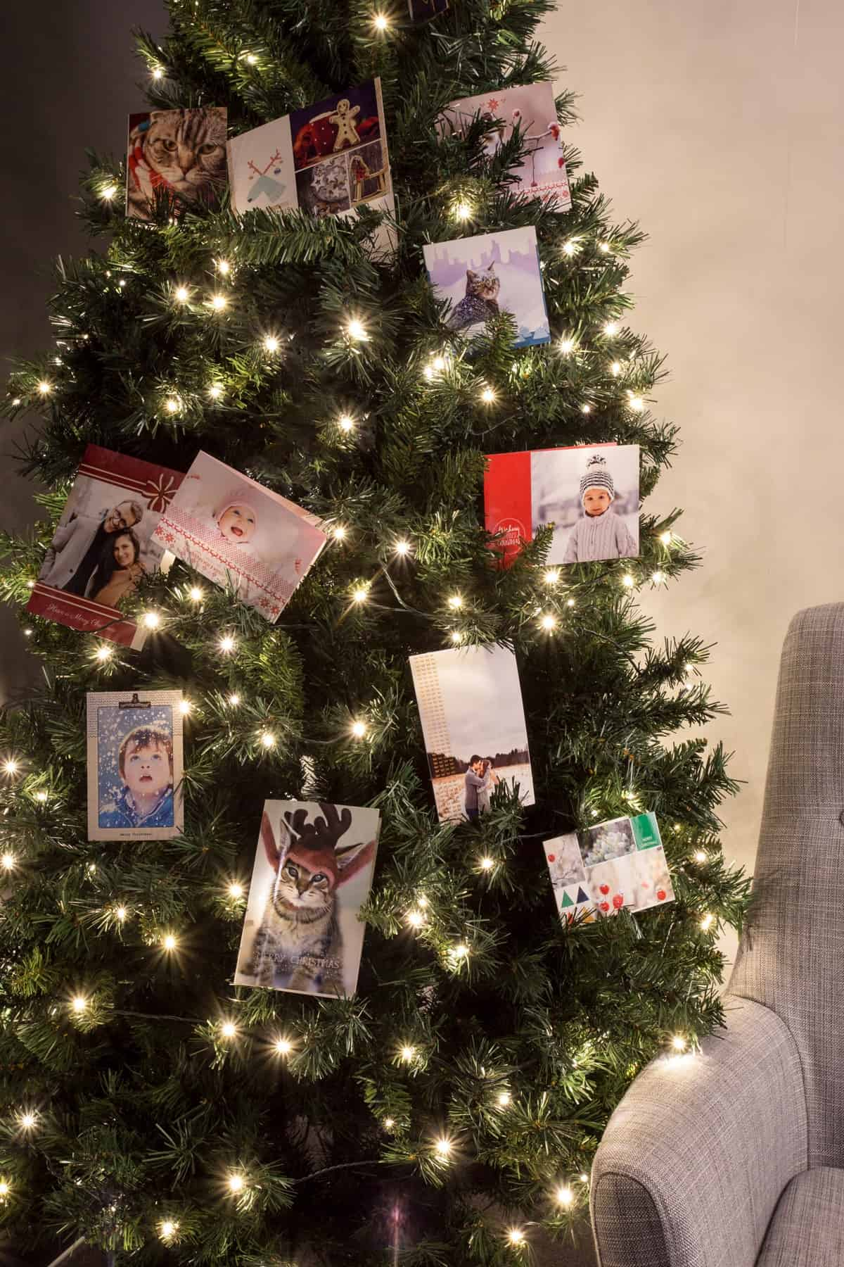 Christmas tree with cards as ornaments