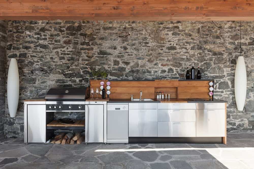 Oversized, white pendant lights flank stainless steel cabinets that are topped with a wooden counter and undermount sink. It is placed against the stone wall which complements the flagstone flooring.