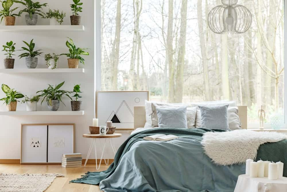Airy bedroom with light hardwood flooring and a picture window framing the enchanting forest. It has a comfy bed and white floating shelves filled with green potted plants.