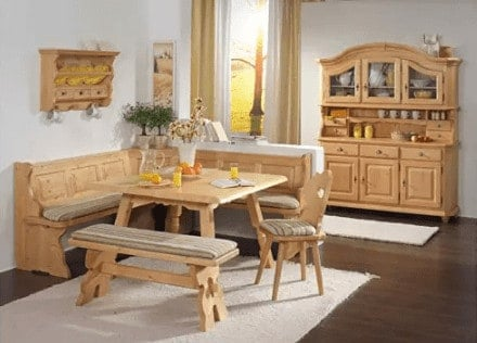 Fuessen light wood bench nook dining set