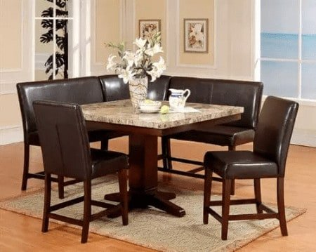 Roundhill six piece espresso dining nook furniture set