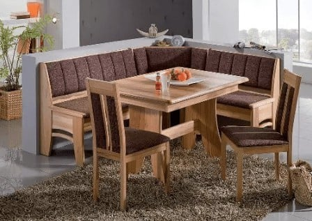 Patterned cushioned large breakfast nook dining set