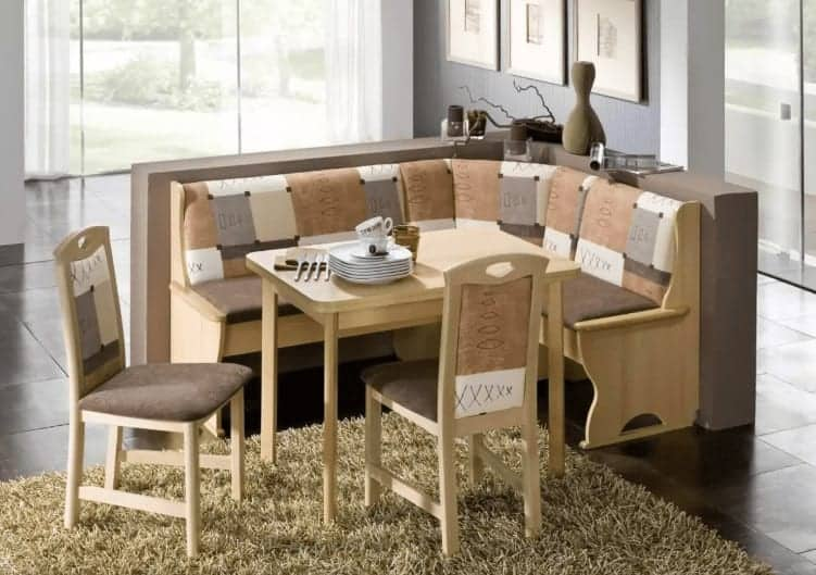Light earth tone color scheme breakfast dining nook set