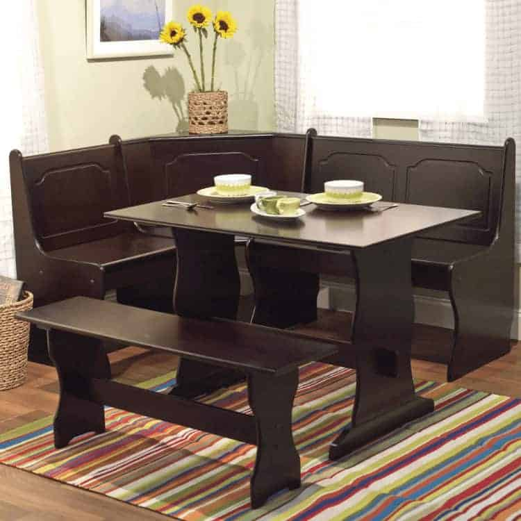 TMS breakfast nook dark wood L-shape