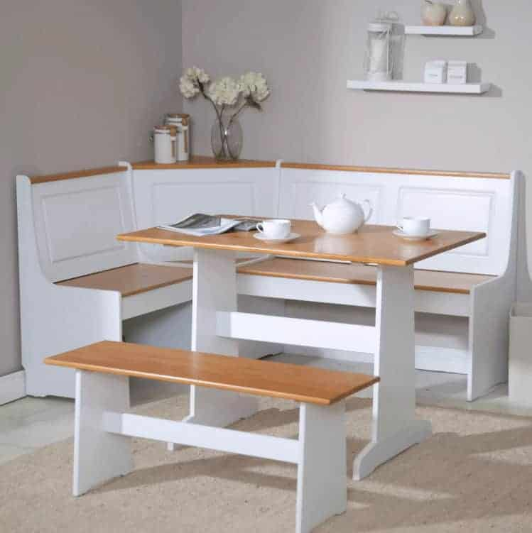White and light wood corner breakfast dining nook