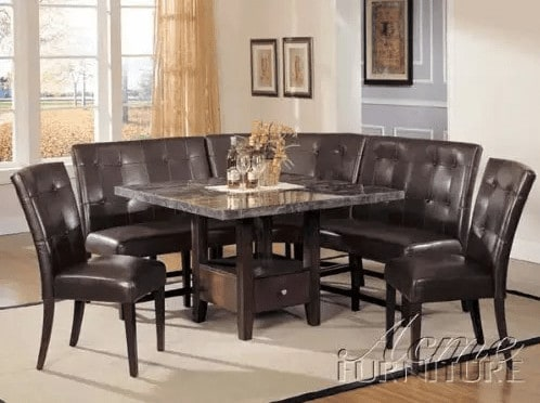 6-piece grand cushioned dark brown breakfast nook