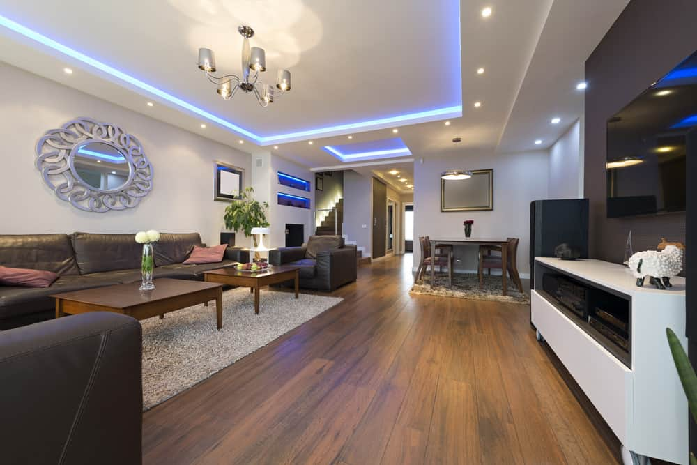 Living room with LED ceiling lights