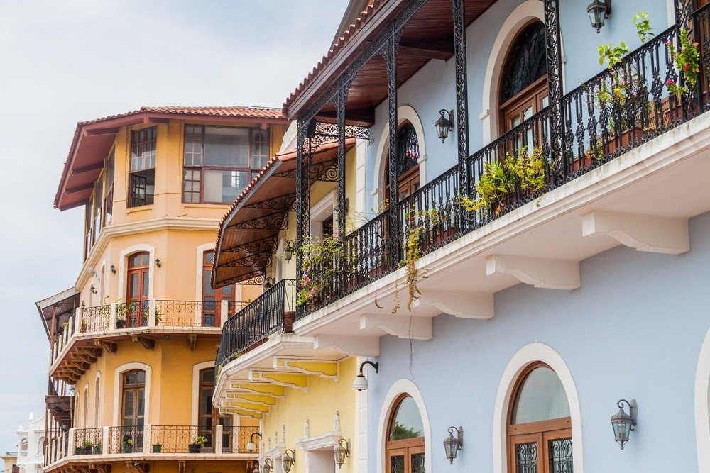 Colonial buildings in Casco Viejo (Old Town) of Panama City