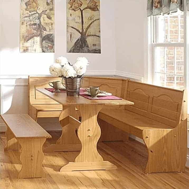 Chelsea all-wood (light tone) breakfast nook dining area set