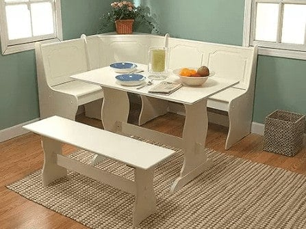 Three piece white corner dining nook