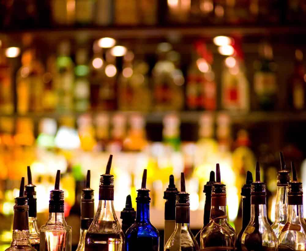 Liquor bottles in bar