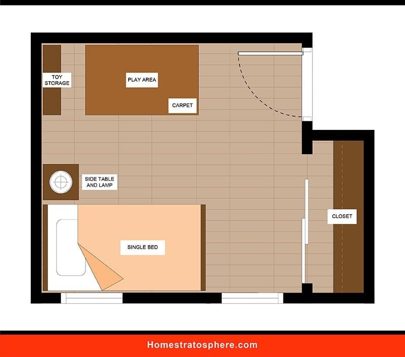 Kids' Bedroom: Single Bed in Sight of Door