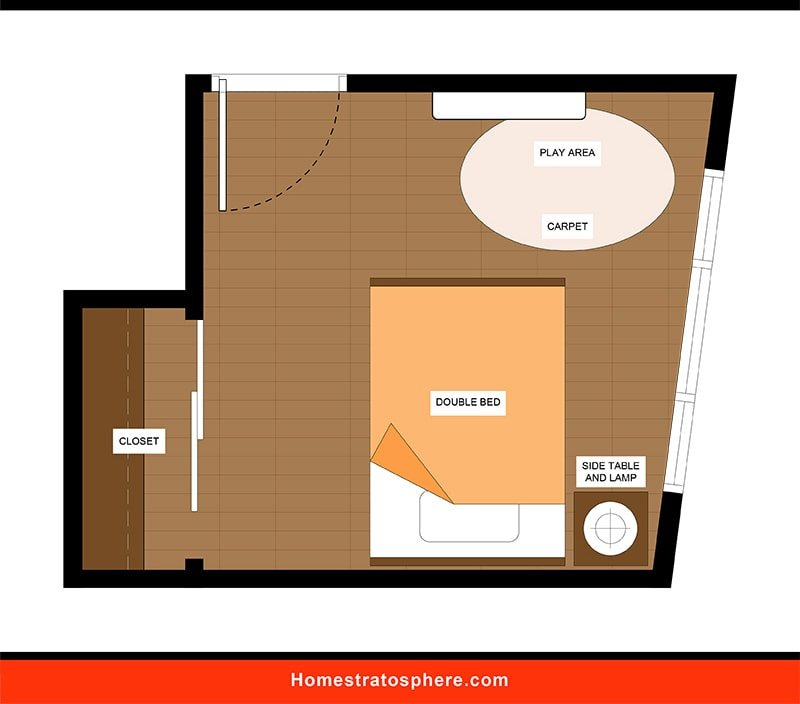 Kids' Bedroom: Sunlit Bedroom Space with Double Bed