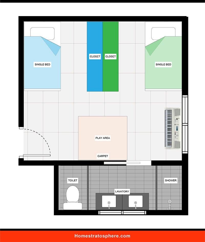 Kids' Bedroom: Jack & Jill Bedroom with Attached Bathroom