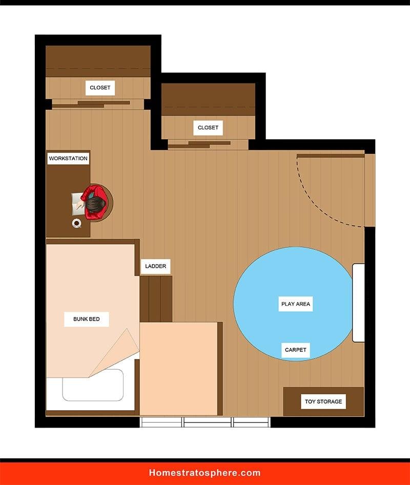 Kids' Bedroom: Bunk Bed Layout 1