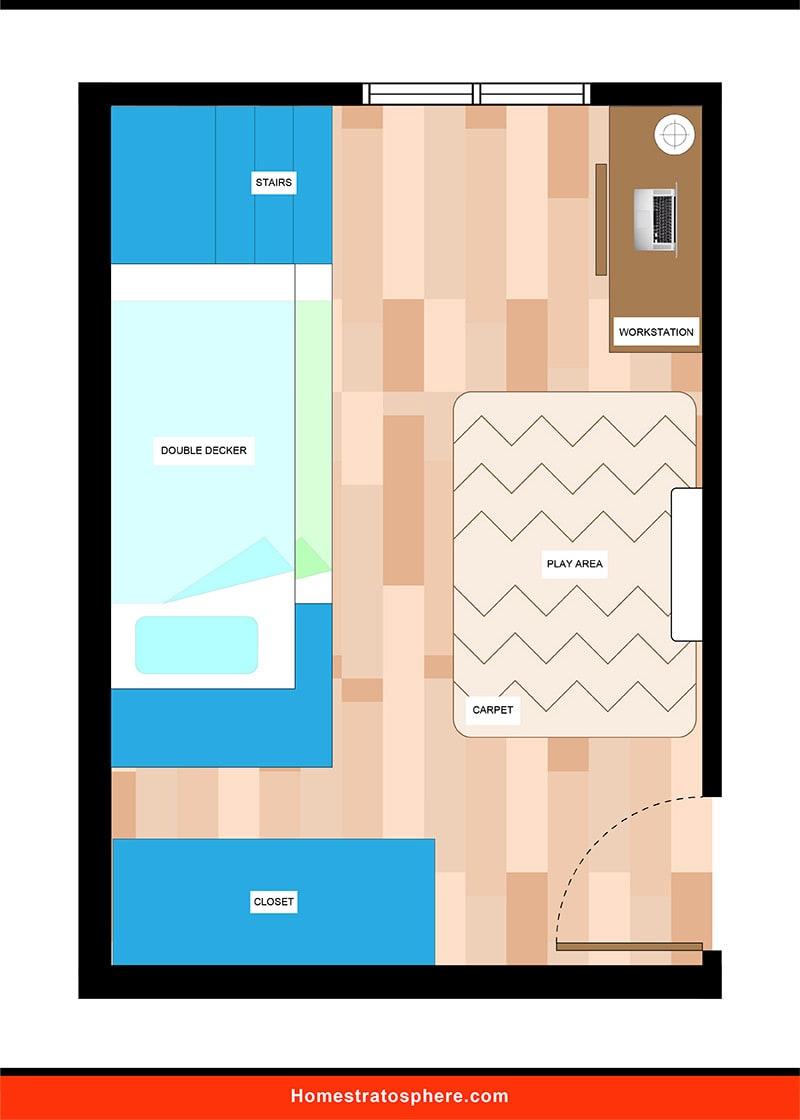 Kids' Bedroom: Bunk Bed Layout 2