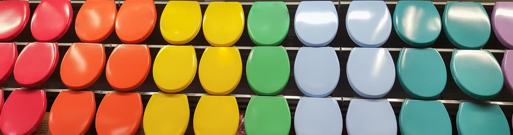 Different colored toilet seats