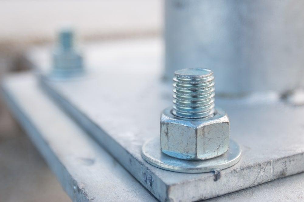 Closeup of an anchor bolt.
