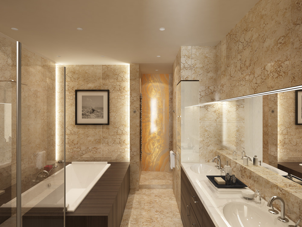 Master bathroom featuring gorgeous beige tiles floors and walls. The room offers a deep soaking tub and two sinks.