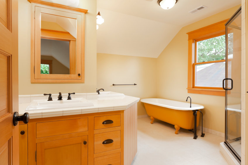 A simplistic primary bathroom with a sink counter, a freestanding tub and a walk-in corner shower.