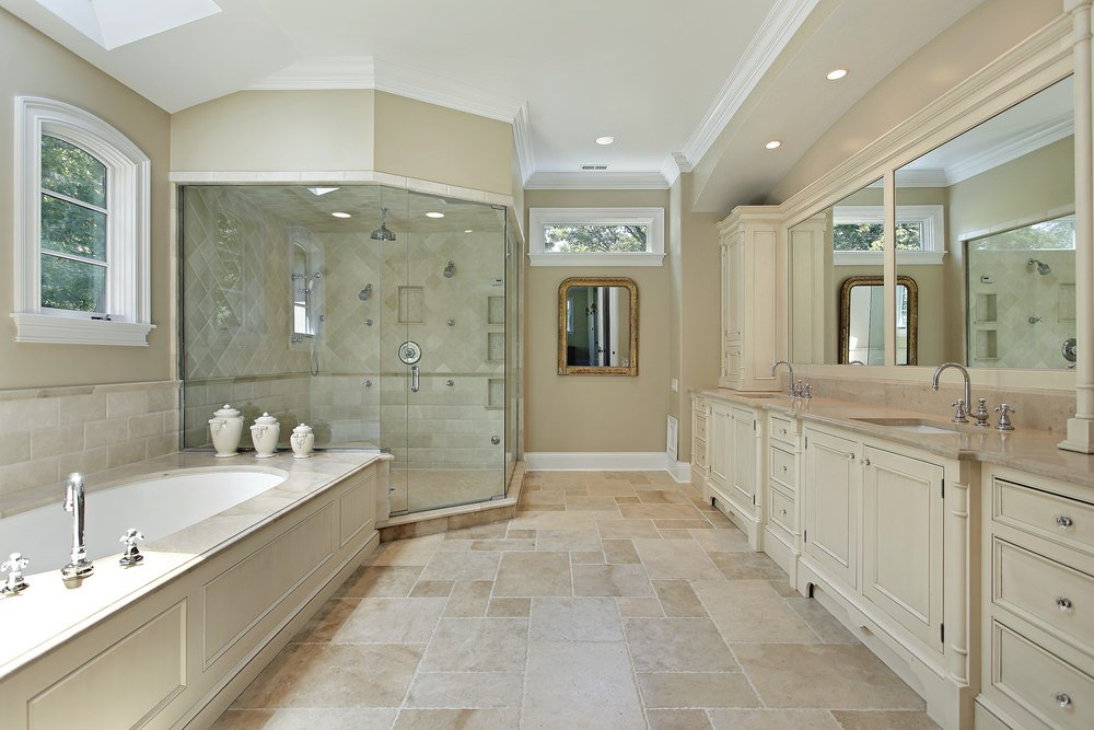 Primary bathroom with beige tiles flooring and features a walk-in corner shower room and a drop-in tub with a skylight above.