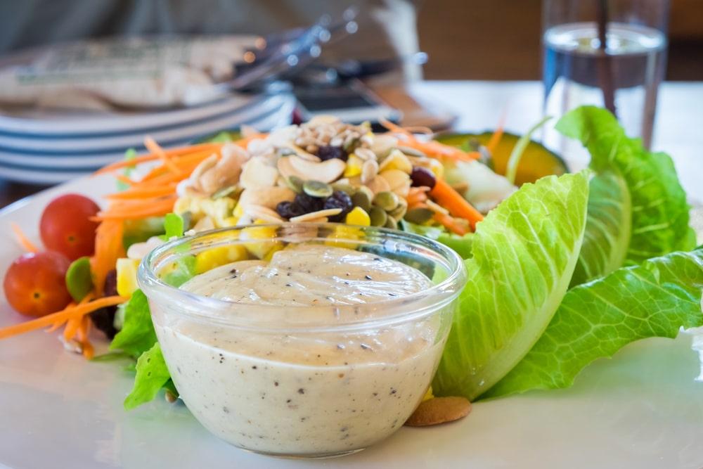 Caesar dressing and salad