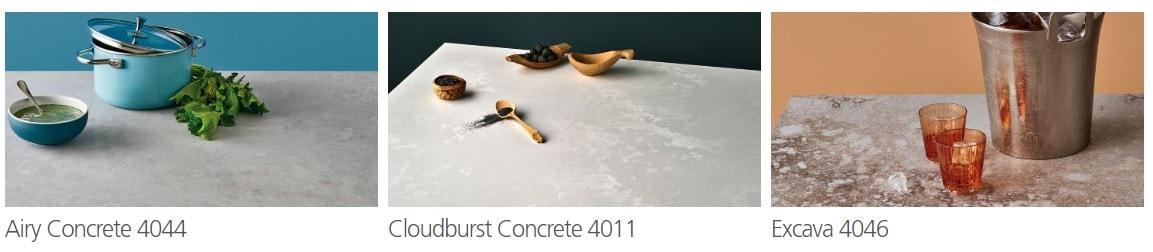 Sample of Caesarstone quartz countertops for the kitchen.