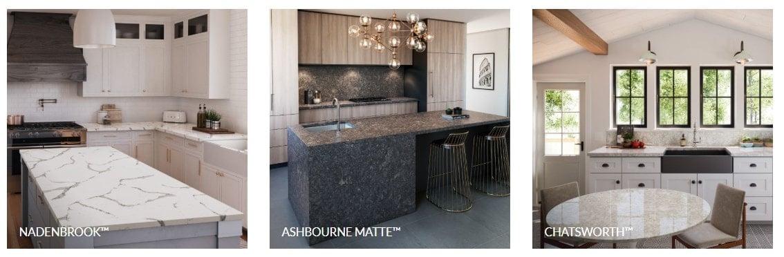 Sample of Cambria quartz countertops for the kitchen.