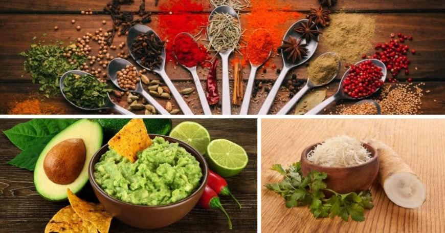 Photos of different condiments