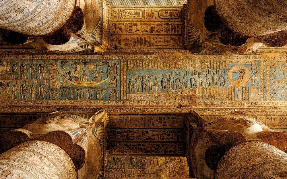 Hathoric columns in Dendera Temple.