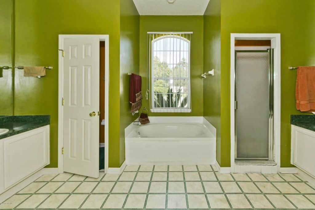 A walk-in shower and a toilet area flank a drop-in tub by the arched window allowing natural light in. There are white vanities on the sides that are topped with green granite countertops.