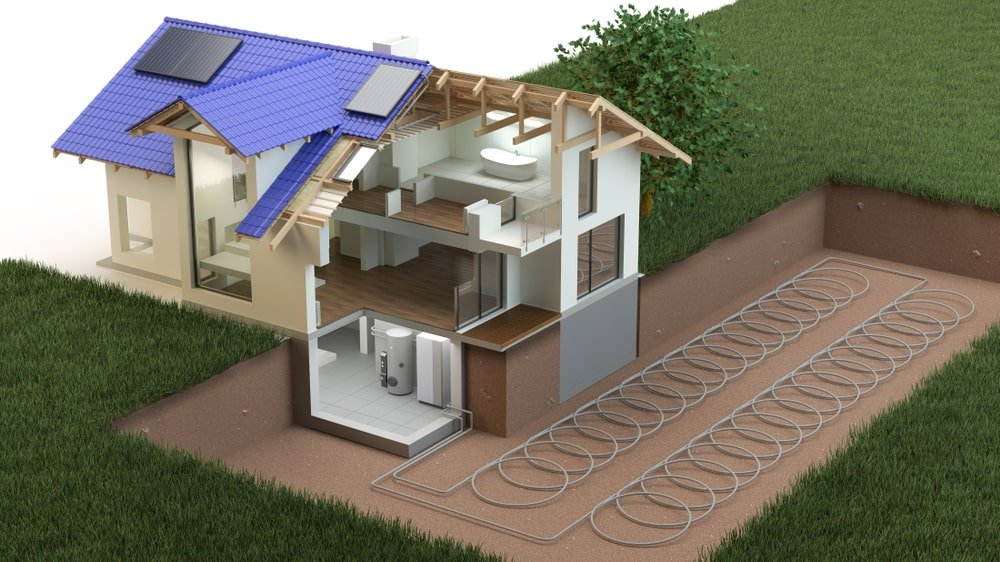 Illustration of a ground source heat pump.
