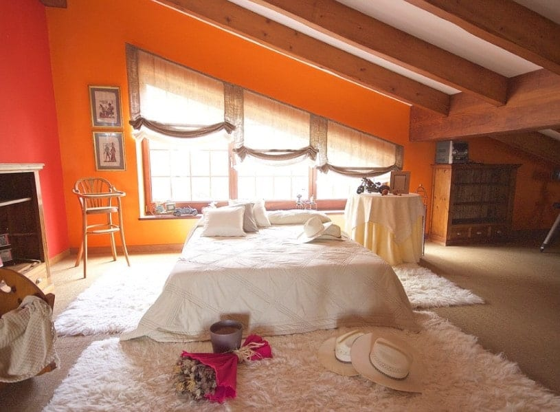 A spacious primary bedroom featuring a shed ceiling with exposed beams along with orange walls and carpeted flooring.
